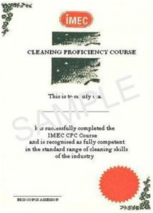 IMEC Cleaning Proficiency Certificate